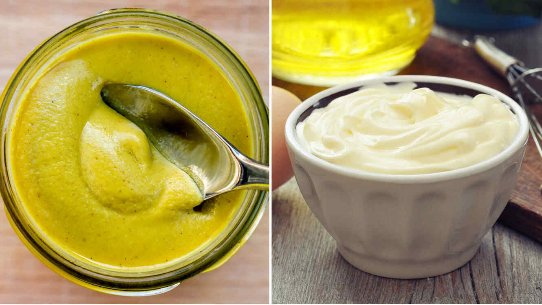 Tarro de mostaza y mayonesa