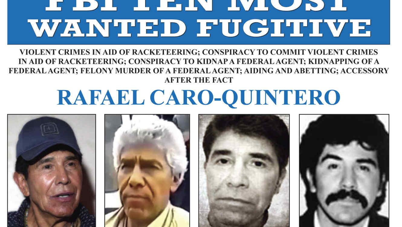 """Afiche del FBI de """"se busca"""" con fotografías del narcotraficante mexicano Rafael Caro Quintero"""