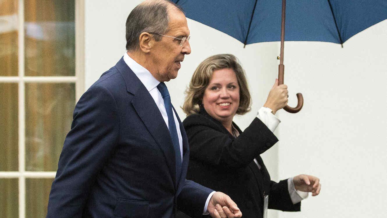 Sergey Lavrov (izquierda), a su salida de la Casa Blanca este martes.
