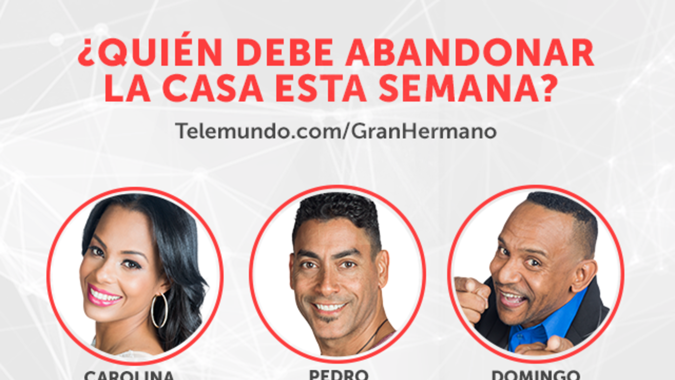 Carolina, Pedro y Domingo, grafica nominados semana dos en Gran Hermano