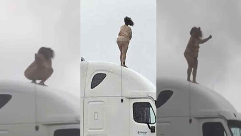 Mujer se desnuda y se sube en un camión y para el tráfico en Houston