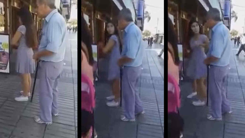 Viejo acosa sexualmente a jovencita en Chile-VIDEO