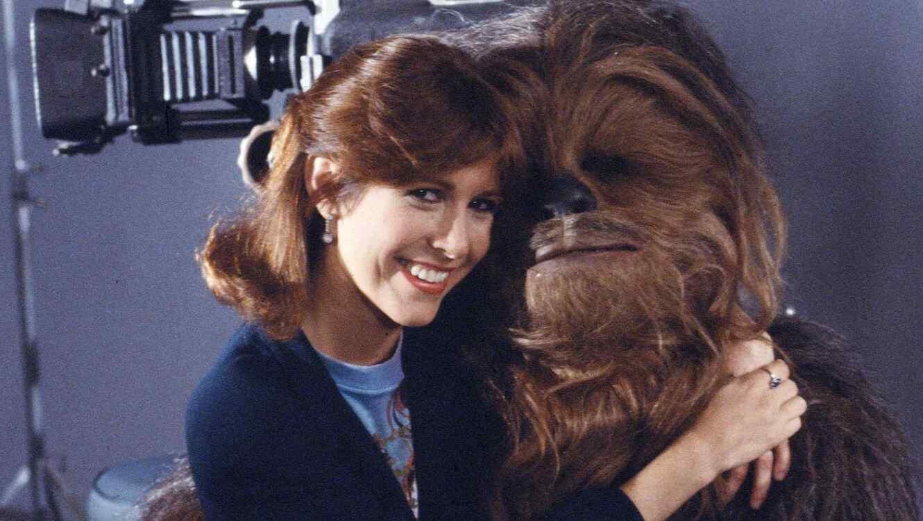 Carrie Fisher y Chewbacca