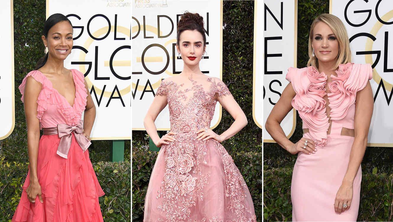 El rosa domina la alfombra roja de los Golden Globes 2017 | Telemundo