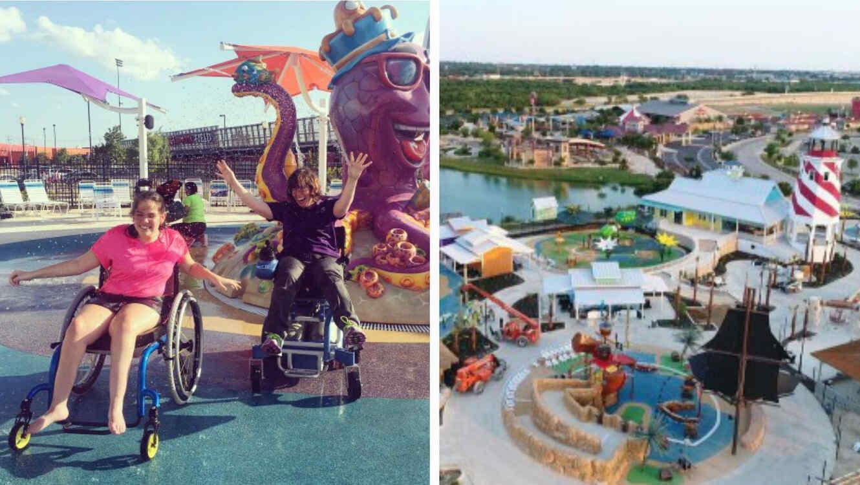 Collage parque acuático para personas con discapacidad