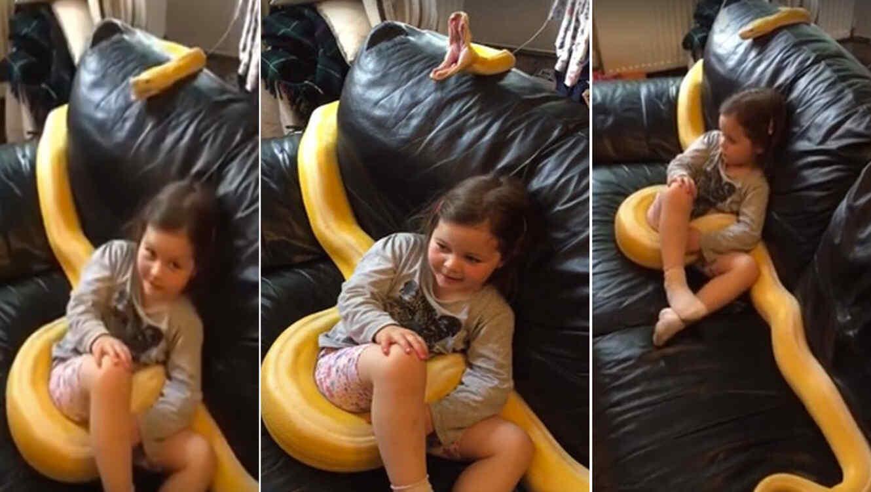 La viral amistad entre una niña y una enorme serpiente pitón