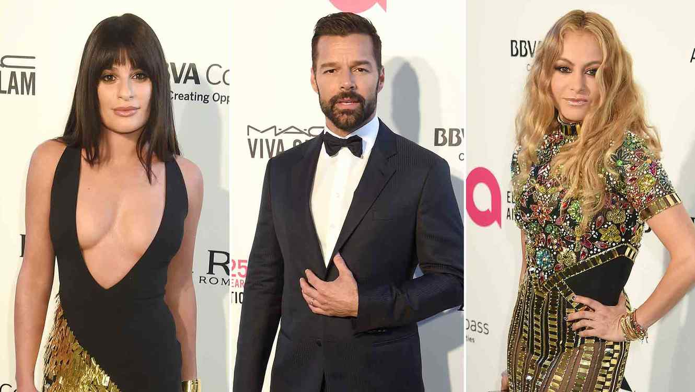 Lea Michele, Ricky Martin, Paulina Rubio at the Elton John AIDS Foundation party
