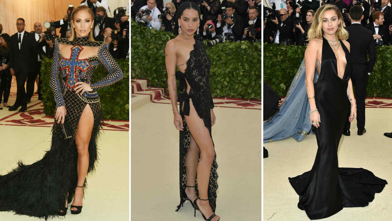 Collage Jennifer Lopez, Zoë Kravitz y Miley Cyrus