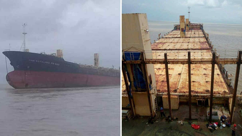 Pescadores de la zona encontraron el buque de carga 'Sam Ratulangi PB 1600' flotando a unas 6.5 millas de la costa del Golfo de Martaban