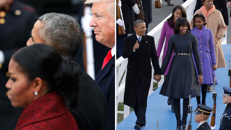 La expresión de Michelle Obama durante la toma de protesta de Donald Trump en 2017 (izquierda) fue muy diferente a su expresión durante la toma de posesión de su esposo en 2013 (derecha)