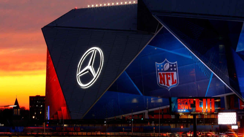 Vista exterior del Mercedes-Benz Stadium