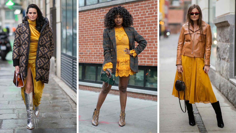 Modelos usando ropa color mostaza