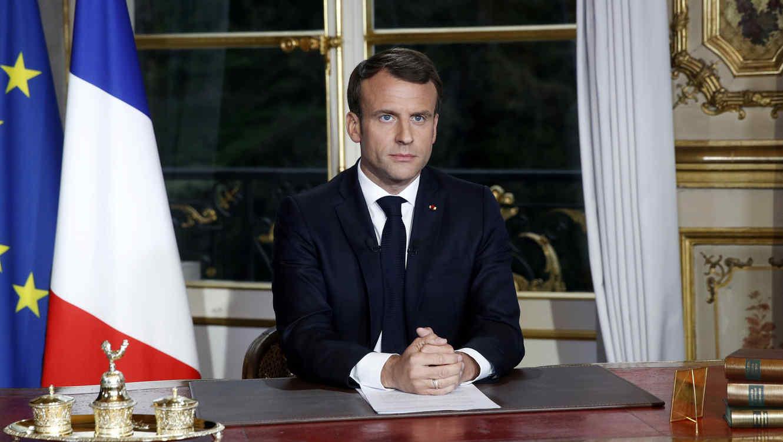El presidente francés Emmanuel Macron se dirigió hoy al pueblo tras el incendio en Notre Dame