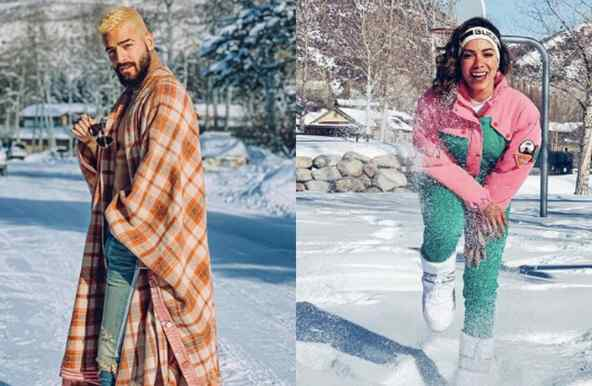 Latin artists having fun in the snow