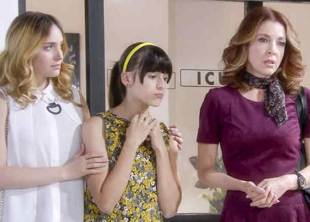 Edith González, Nicole Apollonio, Minnie West le dicen a su padre que regrese a casa en Eva la Trailera