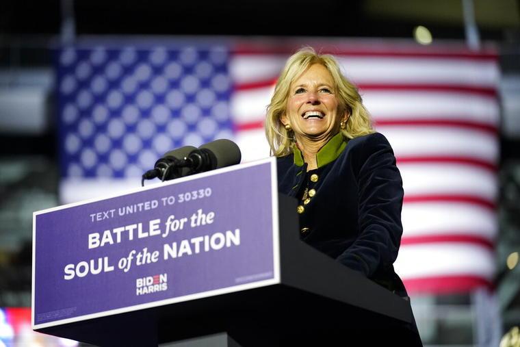 Jill Biden en un evento de campaña en Pittsburgh