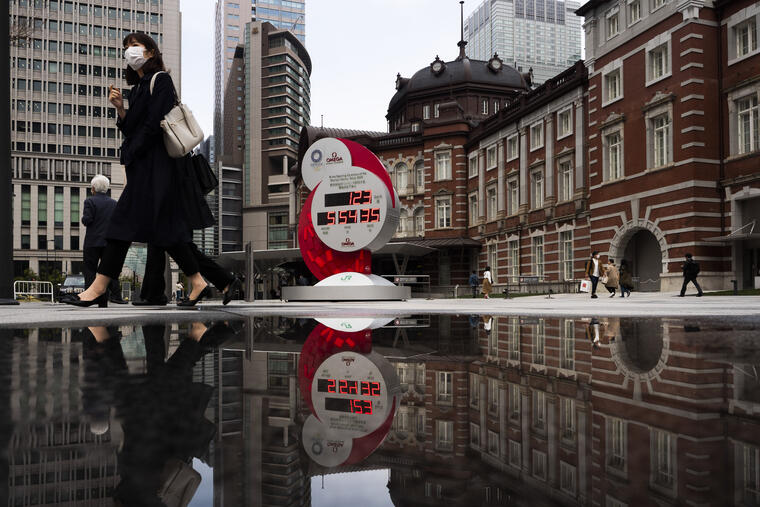 Un reloj de cuenta regresiva este lunes en la capital nipona cuenta 123 días restantes para los Juegos Olímpicos de Tokio.
