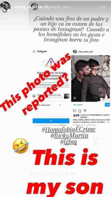 Foto de Ricky Martin censurada por Instagram.