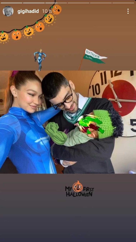 Gigi Hadid, Zayn Malik y su bebé en Halloween
