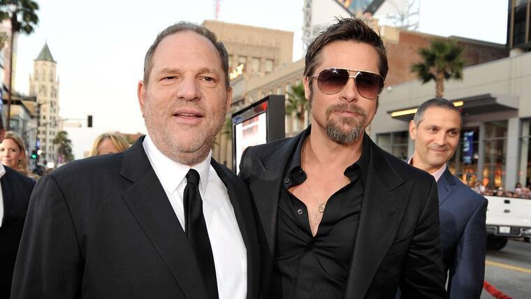 Harvey Weinstein con Brad Pitt, en el estreno de 'Inglourious Basterds', 2009