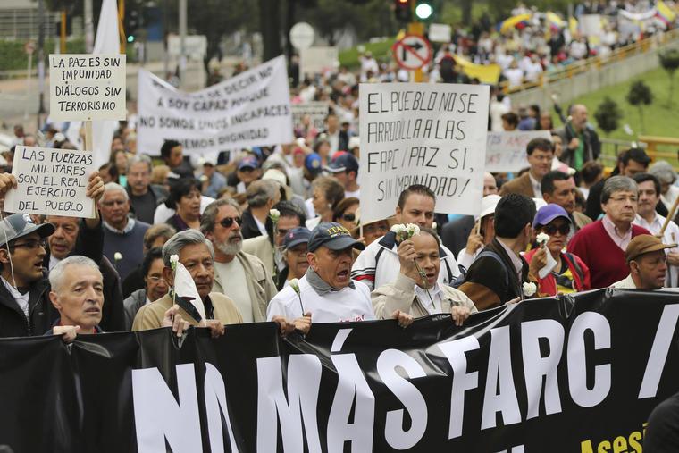 protesta contra guerrilla de las farc