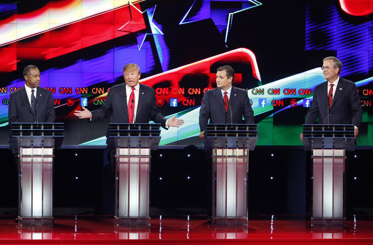 Ben Carson, Donald Trump, Ted Cruz. Jeb Bush