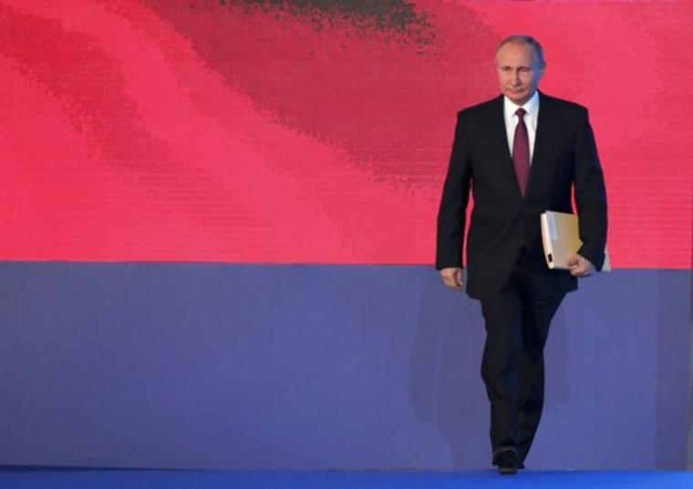 El presidente ruso, Vladimir Putin, a la llegada para dar su discurso anual sobre el estado de la nación en Moscú.