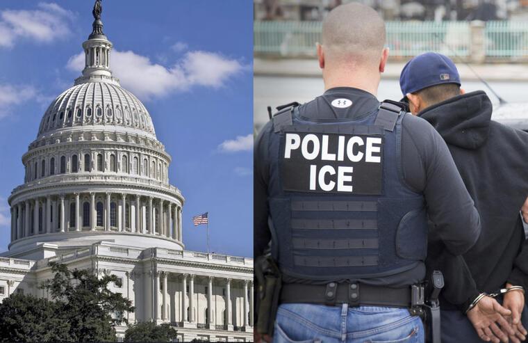 Imágenes de archivo del Capitolio y de una operación de ICE.