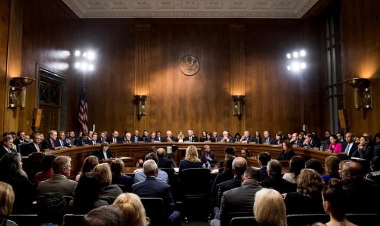 Christine Blasey Ford este jueves ante el Comité Judicial del Senado, en Capitol Hill, Washington.