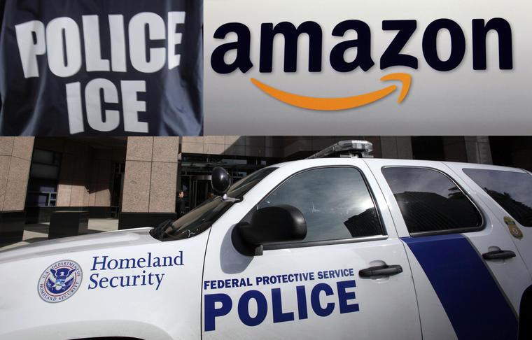 Imagen de archivo de un vehículo del Departamento de Seguridad Nacional en California. Arriba, identificación de ICE y logotipo de la compañía Amazon.