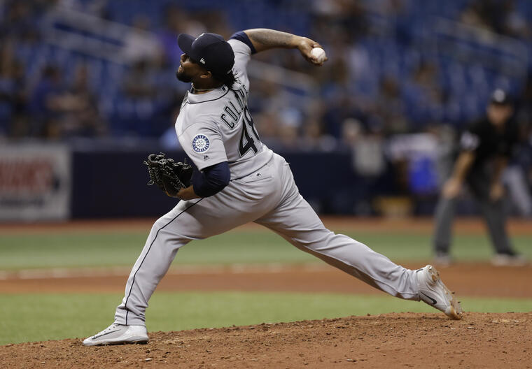 Alex Colome, durante un partido de los Seattle Mariners en junio en Florida.