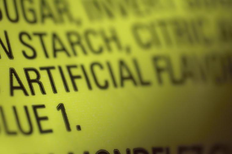 Imagen de archivo de la etiqueta de ingredientes de una golosina.
