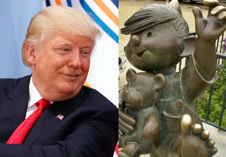 Imágenes de archivo de Trump (izquierda) y de una estatua de Daniel el Travieso.