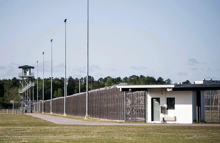 Imagen de la entrada del Lee Correctional Institution en Bishopville, Carolina sel Sur.