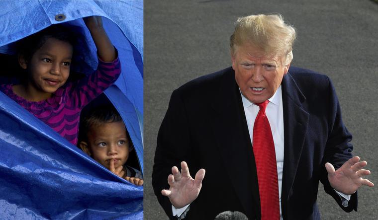 A la izquierda, dos niños llegados a la frontera en la caravana de inmigrantes centroamericanos. A la derecha, imagen de archivo de Trump.