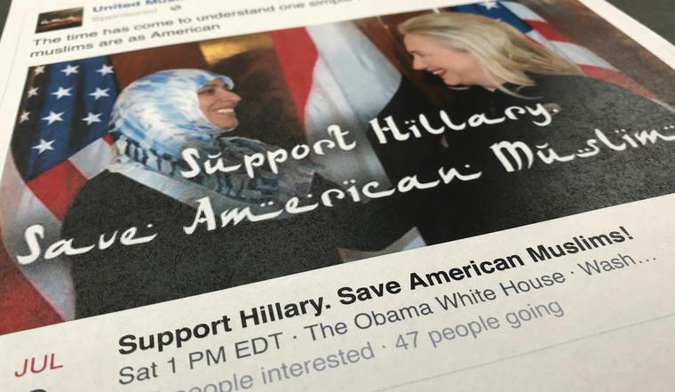 Una publicación en Facebook destinada presuntamente a manipular las elecciones de 2016.
