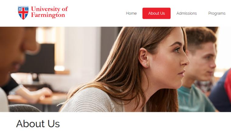 Captura de pantalla de la web de ficticia de Universidad de Farmington.