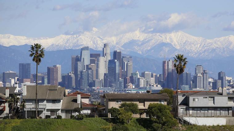 Foto de archivo de una vista del centro de Los Angeles, California