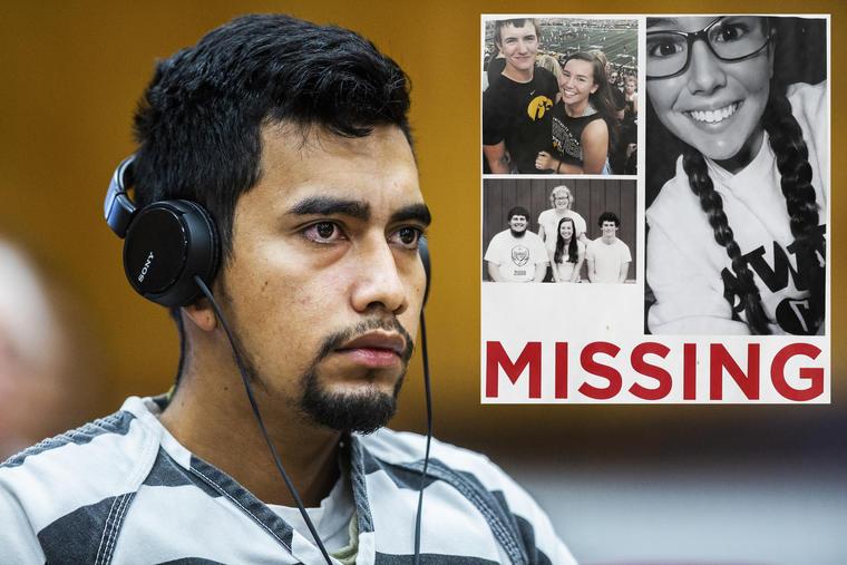 Cristhian Bahena Rivera, en septiembre ante la corte. A la derecha, cartel para la búsqueda de Mollie Tibbetts.