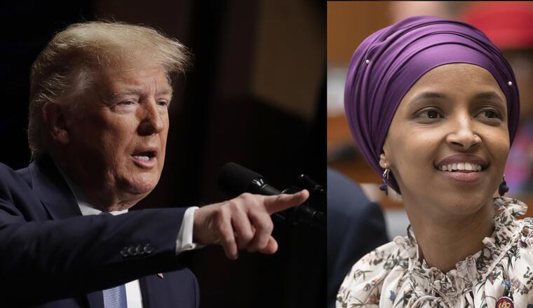 Trump, en un acto este miércoles en la Casa Blanca. A la derecha, imagen de archivo de Omar.