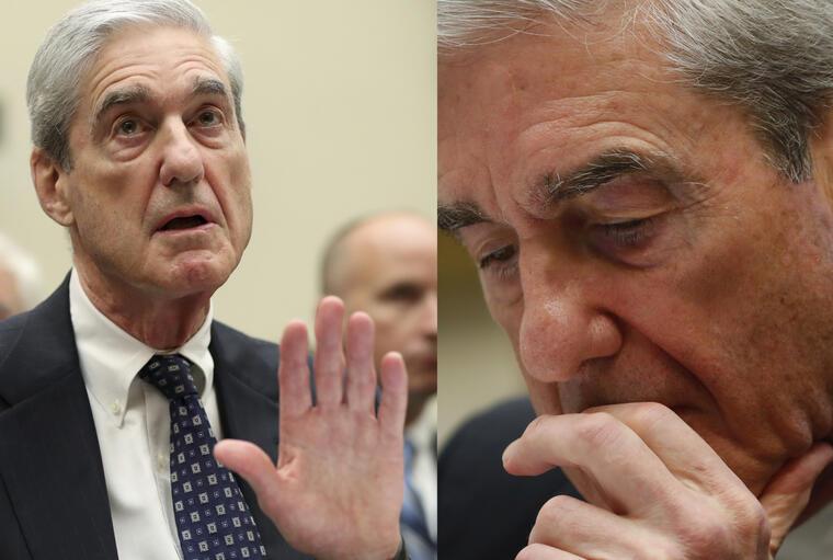 Robert Mueller, en dos momentos de su declaración este miércoles ante la Cámara de Representantes.