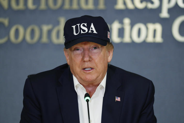 El presidente Donald Trump habla en la Agencia Federal para el Manejo de Emergencias (FEMA), el domingo 1 de septiembre de 2019, en Washington.