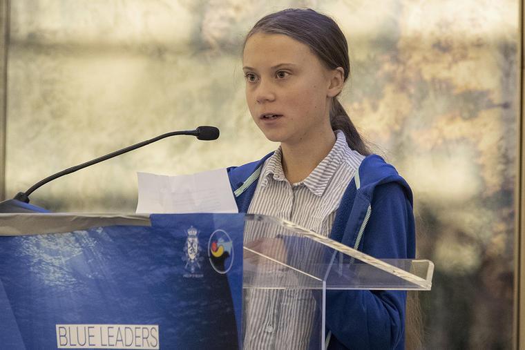 La activista climática Greta Thunberg durante un discurso en Nueva York.