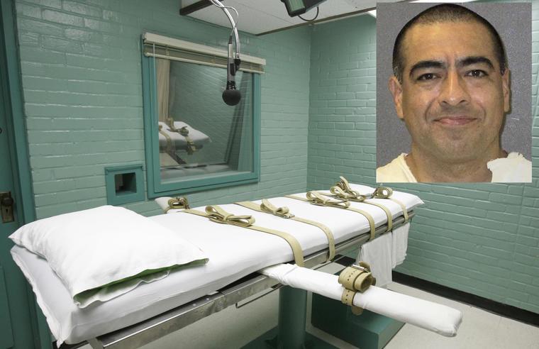 Imagen de archivo de la sala de ejecución en el penal de Huntsville. A la derecha, Abel Ochoa.
