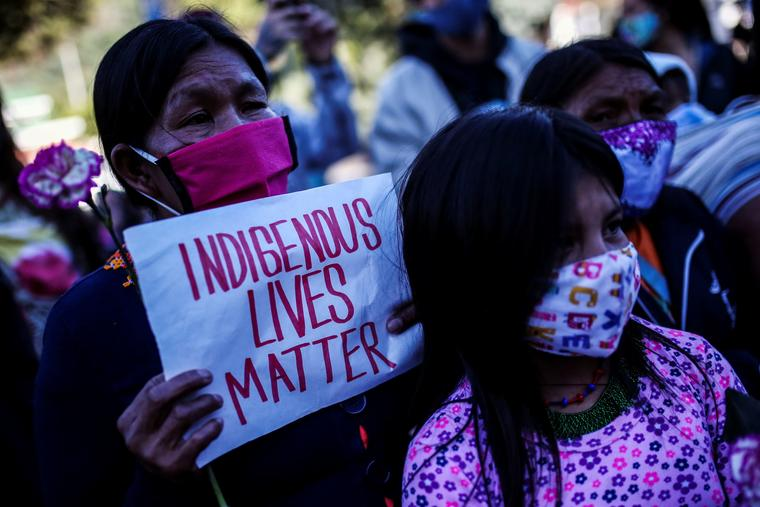 Una protesta en Bogotá el 29 de junio de 2020.