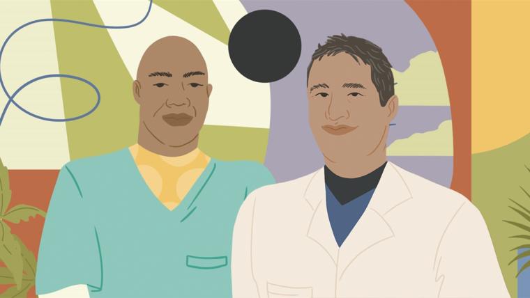 El enfermero Óscar Sánchez y el doctor Thomas Ardiles.