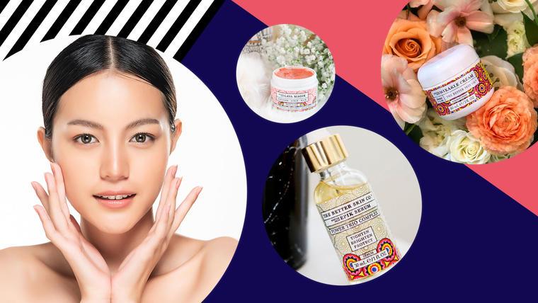 Cinco productos para el cuidado de la piel de la cara: serum y crema hidratante