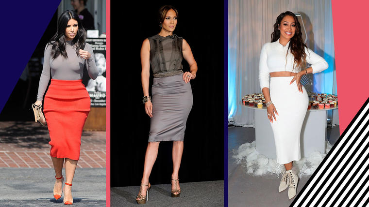 Cómo combinar faldas lapiz como Kim Kardashian, Jennifer Lopez y La La Anthony