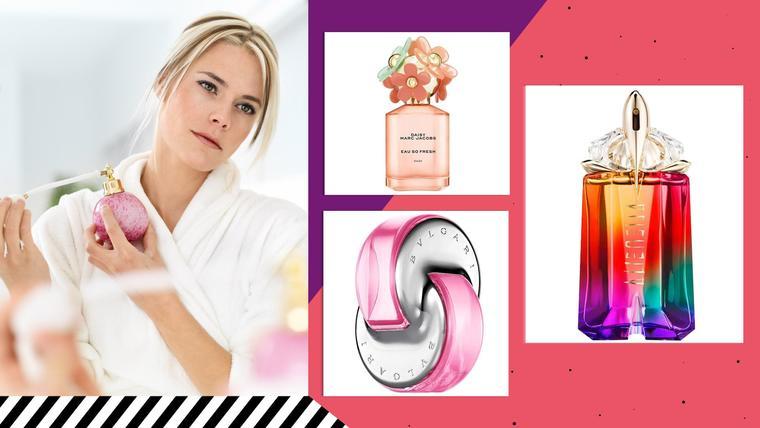 Mujer con perfumes