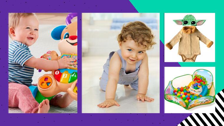 Las mejores ofertas de ropa y juguetes para bebés: mamelucos, vestidos, carritos, así como carritos montables, caminadores y juguetes interactivos